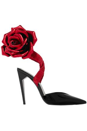 SAINT LAURENT Freja floral-appliquéd patent-leather pumps