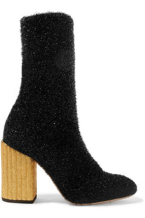 PETAR PETROV Leather-trimmed tinsel ankle boots