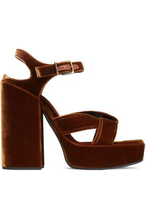 JIL SANDER Twisted velvet platform sandals