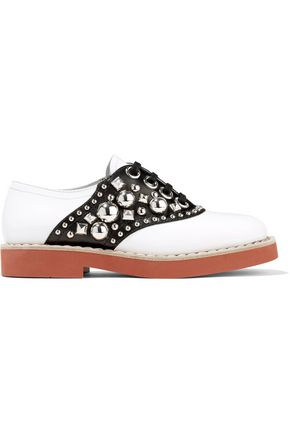 MIU MIU Embellished two-tone leather brogues