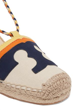 TORY BURCH Leather-trimmed canvas espadrilles