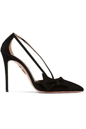 AQUAZZURA Parisienne bow-embellished suede pumps