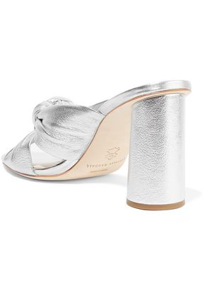 LOEFFLER RANDALL Knotted metallic textured-leather mules