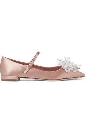 MIU MIU Crystal-embellished satin point-toe flats