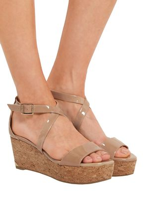 JIMMY CHOO Patent-leather platform sandals