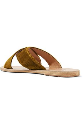 ANCIENT GREEK SANDALS Thais striped leather slides