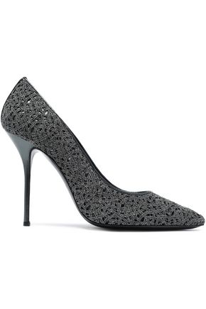 CASADEI Leather-trimmed macramé pumps
