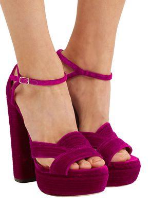 AQUAZZURA Ava Plateau ribbed velvet platform sandals