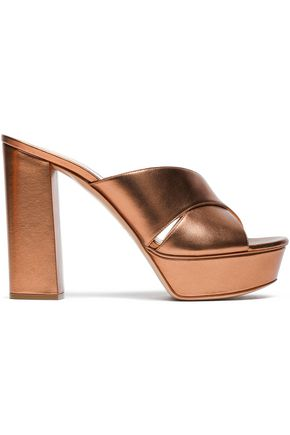 CASADEI Metallic leather platform mules