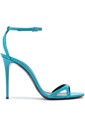 CASADEI Metallic pebbled-leather sandals