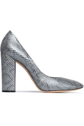 CASADEI Metallic snake-effect leather pumps