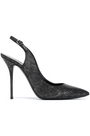CASADEI Croc-effect leather slingback pumps