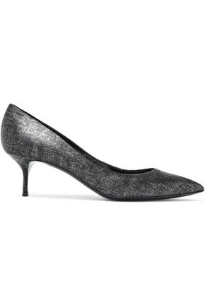 CASADEI Metallic croc-effect leather pumps