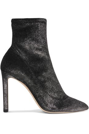 JIMMY CHOO Louella 100 metallic stretch-velvet sock boots