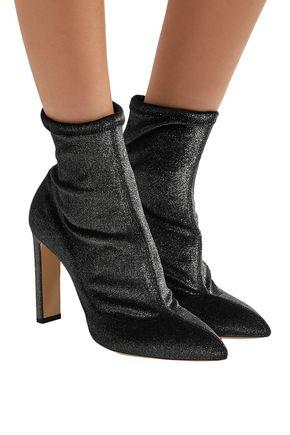 JIMMY CHOO Louella 100 metallic stretch-velvet sock boots
