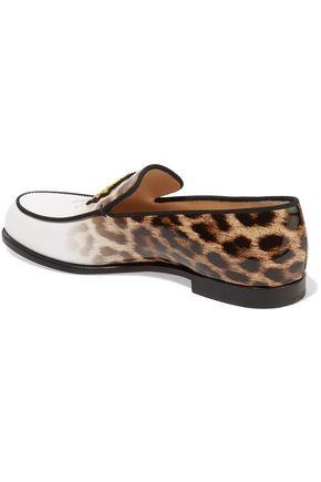 CHRISTIAN LOUBOUTIN Laperouza appliquéd leopard-print patent-leather loafers
