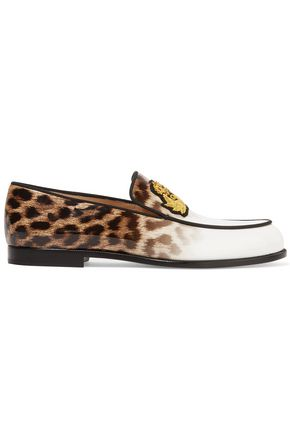 CHRISTIAN LOUBOUTIN Laperouza appliquéd leopard-print patent-leather loafers