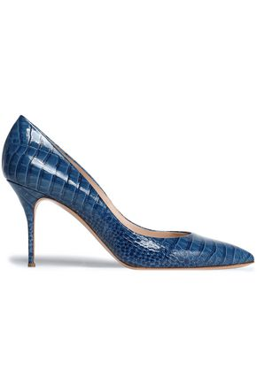 CASADEI Croc-effect glossed leather pumps