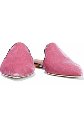 MALONE SOULIERS Marianne leather-trimmed crushed-velvet slippers