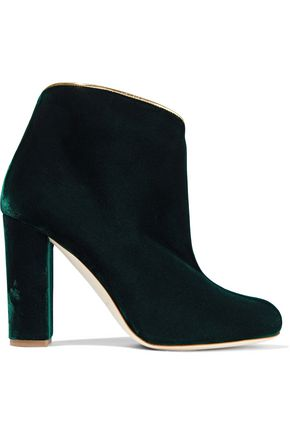 MALONE SOULIERS Eula metallic leather-trimmed velvet ankle boots