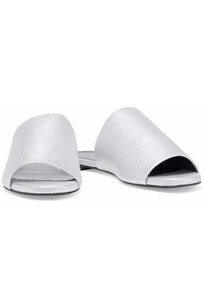 ROBERT CLERGERIE Gigy metallic textured-leather slides