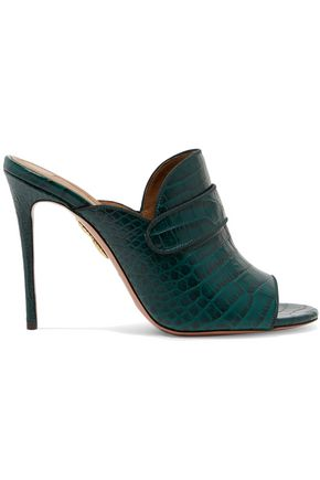 a494dc1350205a AQUAZZURA Dylan croc-effect leather mules