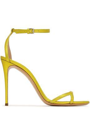 CASADEI Metallic pebbled-leather sandals