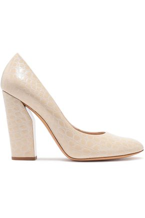 CASADEI Croc-effect leather pumps