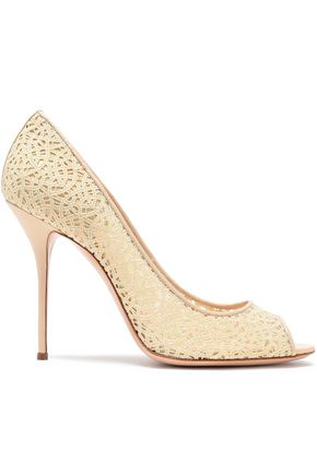 CASADEI Leather-trimmed metallic macramé pumps