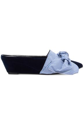 TRADEMARK Adrien bow-embellished velvet wedge slippers