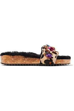 SOPHIA WEBSTER Lyla crystal-embellished leopard-print calf hair slides