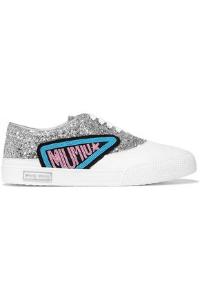 MIU MIU Appliquéd glittered leather sneakers