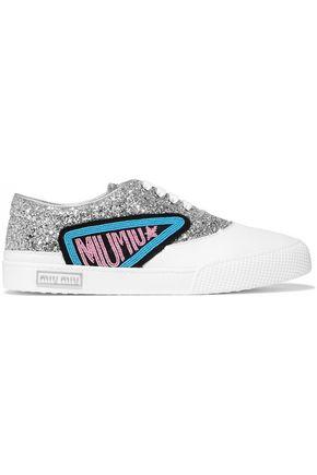 MIU MIU Appliquéd glittered leather sneakers