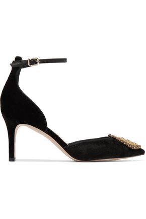 SAM EDELMAN Embellished velvet pumps