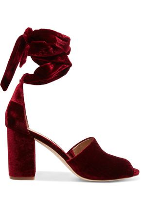 SAM EDELMAN Lace-up velvet sandals
