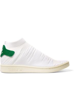 ADIDAS ORIGINALS Stan Smith Sock PK leather-trimmed jacquard-knit sneakers