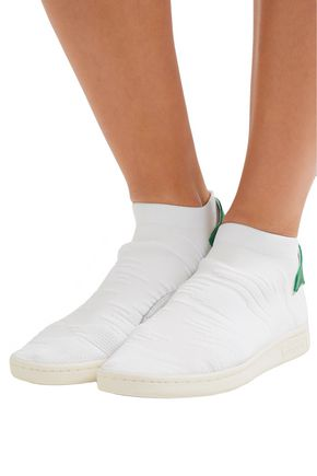 newest d5115 ae72d Stan Smith Sock PK leather-trimmed jacquard-knit sneakers ...