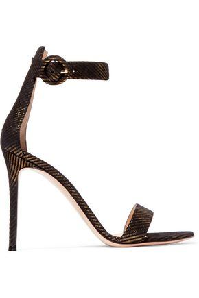 GIANVITO ROSSI Portofino 105 metallic suede sandals