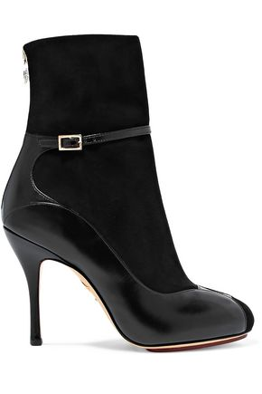 CHARLOTTE OLYMPIA Incognito suede and leather ankle boots