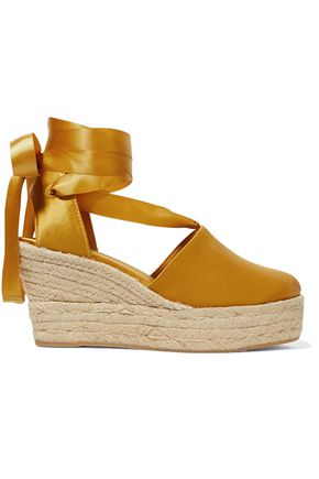 TORY BURCH Elisa satin wedge espadrilles