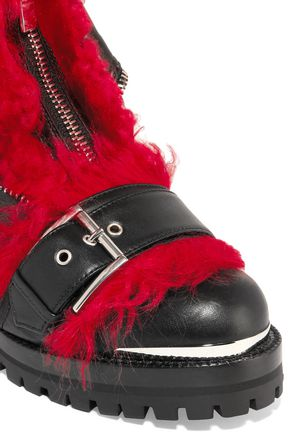 d86a3537395d42 ... ALEXANDER MCQUEEN Shearling-trimmed leather ankle boots ...