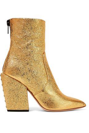 """PETAR PETROV حذاء بوت إلى الكاحل """"سولار"""" من الجلد المتشقق لون ميتاليك"""