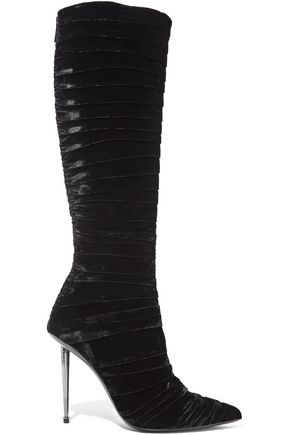 TOM FORD Ruched velvet knee boots