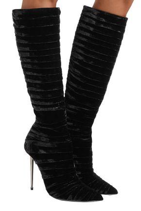 TOM FORD Ruched velvet knee boots