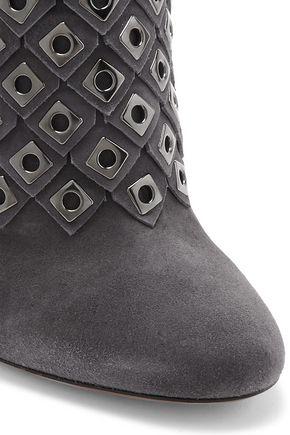 ALAÏA Eyelet-embellished suede ankle boots