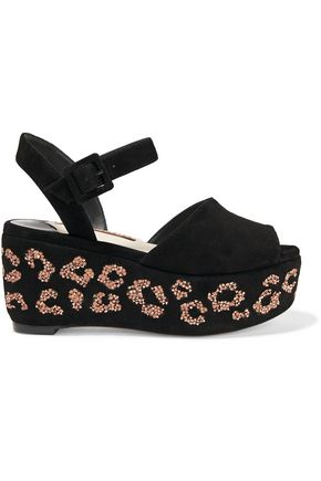 SOPHIA WEBSTER Suki crystal-embellished suede platform sandals
