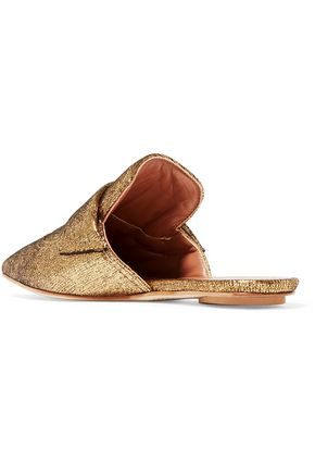MARNI Metallic textured-leather slippers