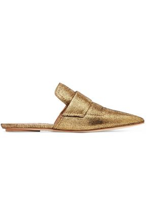MARNI Metallic textured-leather slippers