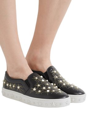 AQUAZZURA Cosmic embellished leather slip-on sneakers