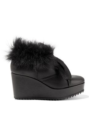 PEDRO GARCÍA Ubon shearling-lined leather wedge ankle boots
